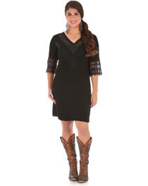 Wrangler Women's Black V-Neck Crochet Trim Dress , , hi-res