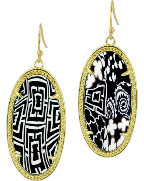 Jilzarah Black & White Gold Frame Earrings, Blk/white, hi-res
