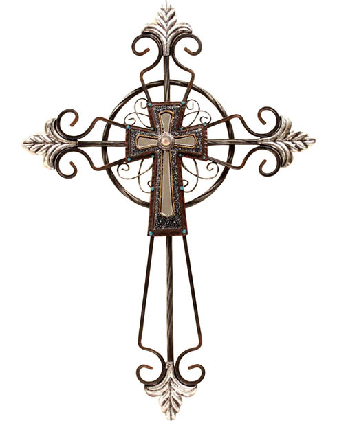 "Western Moments 15"" x 21"" Metal Wall Cross, Brown, hi-res"