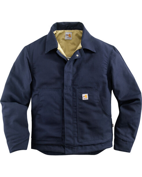 Carhartt Men's Flame-Resistant Midweight Quilt Lined Canvas Dearborn Jacket, Navy, hi-res