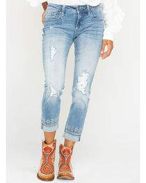 Miss Me Women's Embroidered Roll-Cuff Boyfriend Ankle Jeans - Straight Leg , , hi-res