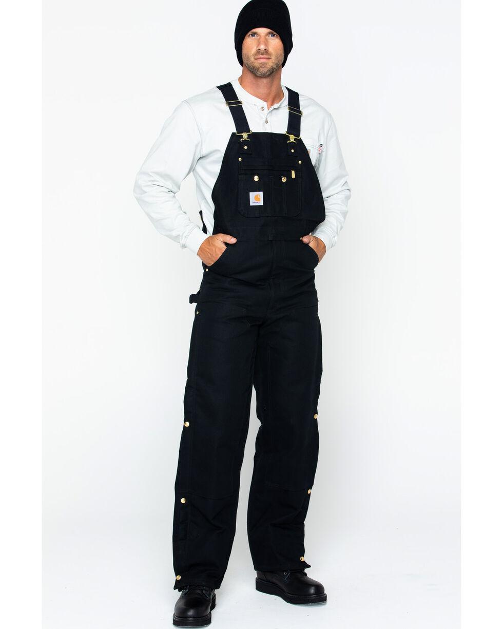 "Carhartt Quilt Lined Duck Bib Overalls - Reg, Big. Up to 50"" waist, Black, hi-res"