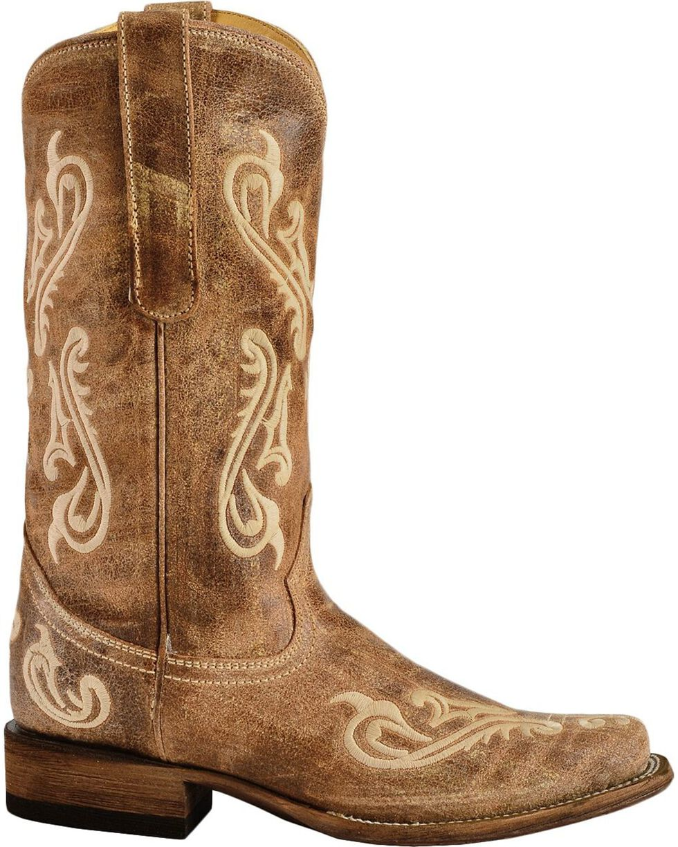 Corral Women's Cortez Cleff Embroidered Square Toe Western Boots, Brown, hi-res