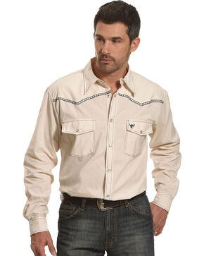 Cowboy Hardware Men's Burlap Print Long Sleeve Shirt, Cream, hi-res