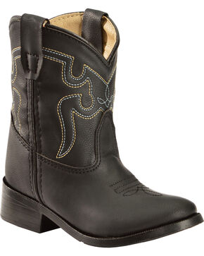 Swift Creek Toddler Boys' Black Cowboy Boots - Round Toe, Black, hi-res