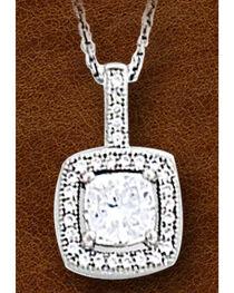 Kelly Herd Women's Sterling Silver Square Bezel Set Pave Necklace, , hi-res