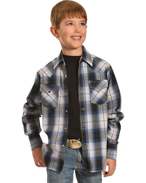 Ely Cattleman Boys' Dobby Plaid Western Shirts, Black, hi-res