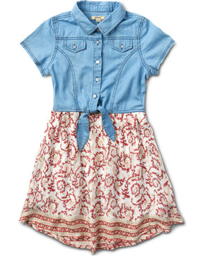 Silver Girls' Coral Denim Top Dress - 4-6X, Coral, hi-res