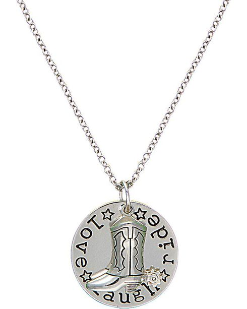 Montana Silversmiths Cowgirl Coin Charm Love, Laugh, Ride Necklace, Multi, hi-res
