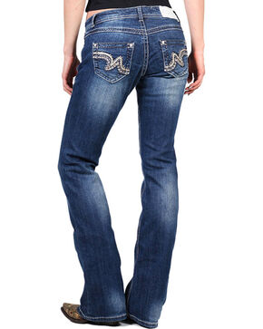 Shyanne® Women's Faux Leather Striped Boot Cut Jeans, Blue, hi-res