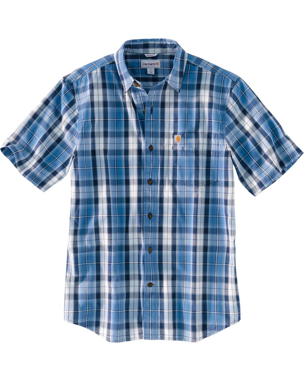 Carhartt Men's Essential Plaid Short Sleeve Shirt, Blue, hi-res