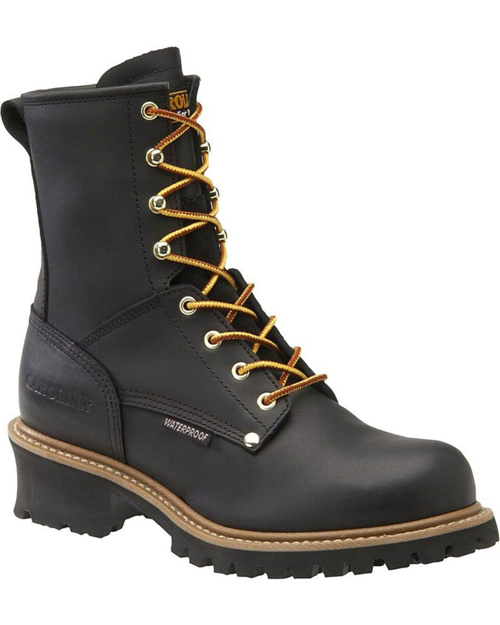 "Carolina Men's Logger 8"" Steel Toe Work Boots, Black, hi-res"