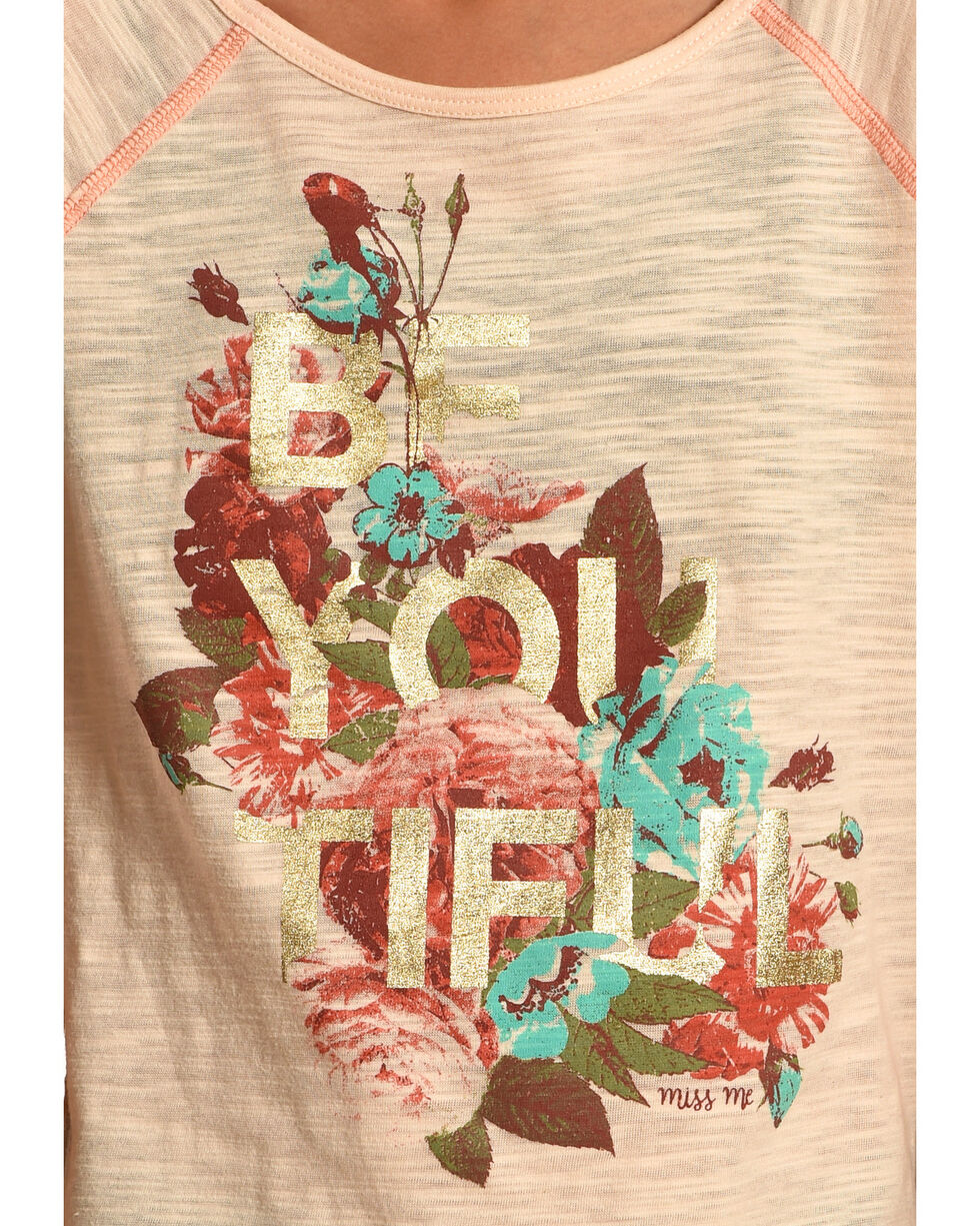 Miss Me Girls' Pink Floral Graphic Tee , , hi-res