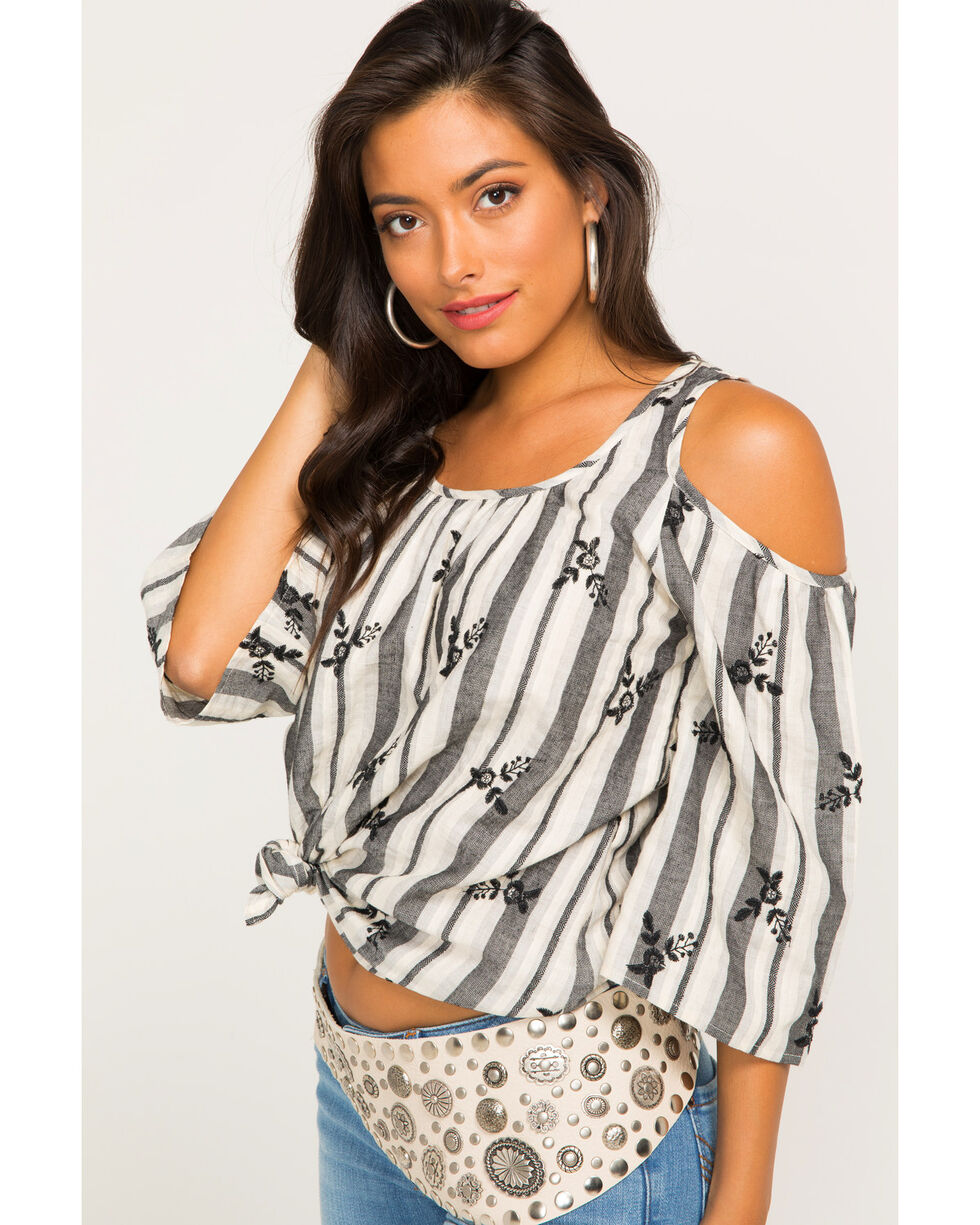 Ivory Love Women's Gray Striped Cold Shoulder Top , Grey, hi-res