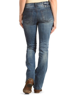Grace in LA Women's Indigo Tonal Floral Embroidered Jeans - Boot Cut , Indigo, hi-res