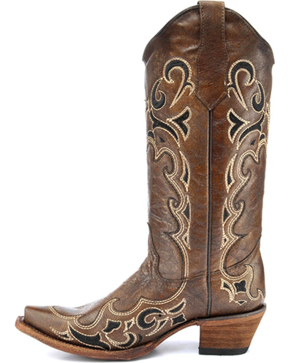 Circle G by Corral Women's Side Embroidery Snip Toe Western Boots, Honey, hi-res