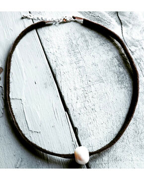 Jewelry Junkie Women's Floating Pearl Brown Leather Choker , Brown, hi-res