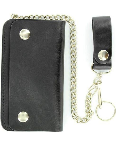 Small Trucker Wallet with Chain, Black, hi-res