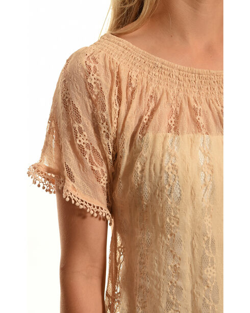 Tantrums Women's Lace Peasant Top, Mauve, hi-res