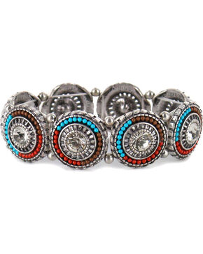 Shyanne® Women's Beaded Pendant Link Bracelet, Silver, hi-res