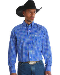 Wrangler Men's Blue George Strait Long Sleeve Shirt , Blue, hi-res