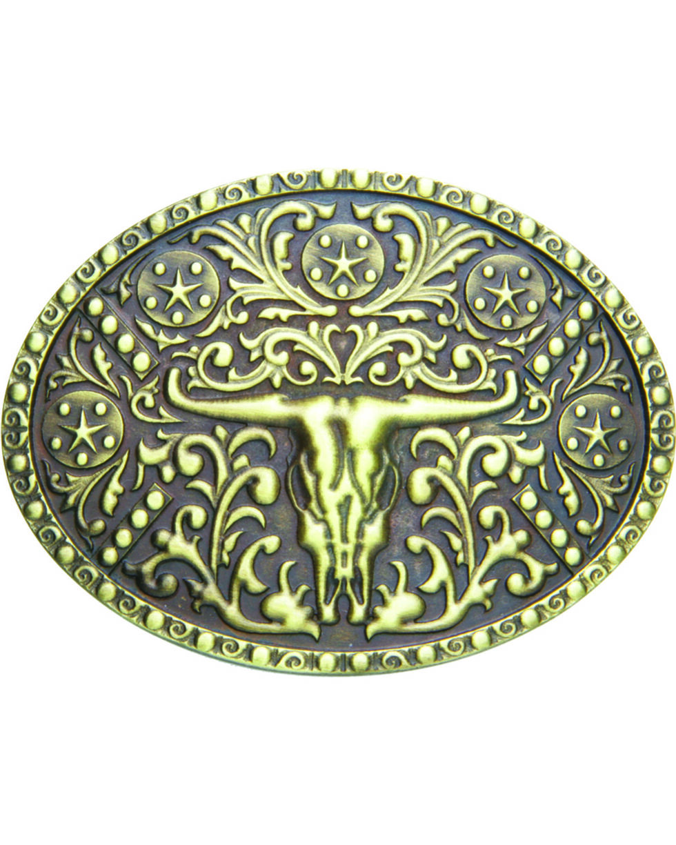 AndWest Men's Brass Steer Skull Oval Belt Buckle, Brass, hi-res