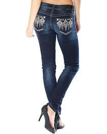 Grace in La Women's Dark Wash Tribal Pocket Jeans - Skinny , , hi-res