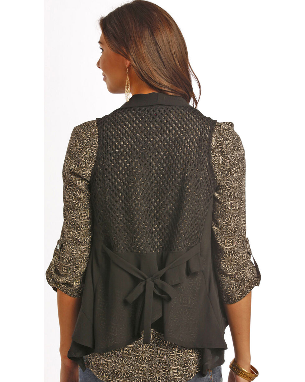 Rock & Roll Cowgirl Women's Black Mesh Vest , Black, hi-res