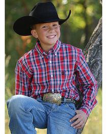 Cinch Boys' Red Plaid Western Shirt , , hi-res