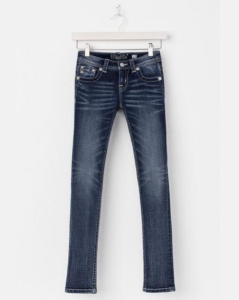 Miss Me Girls' Blue (7-14) Star Pocket Jeans - Boot Cut , Blue, hi-res