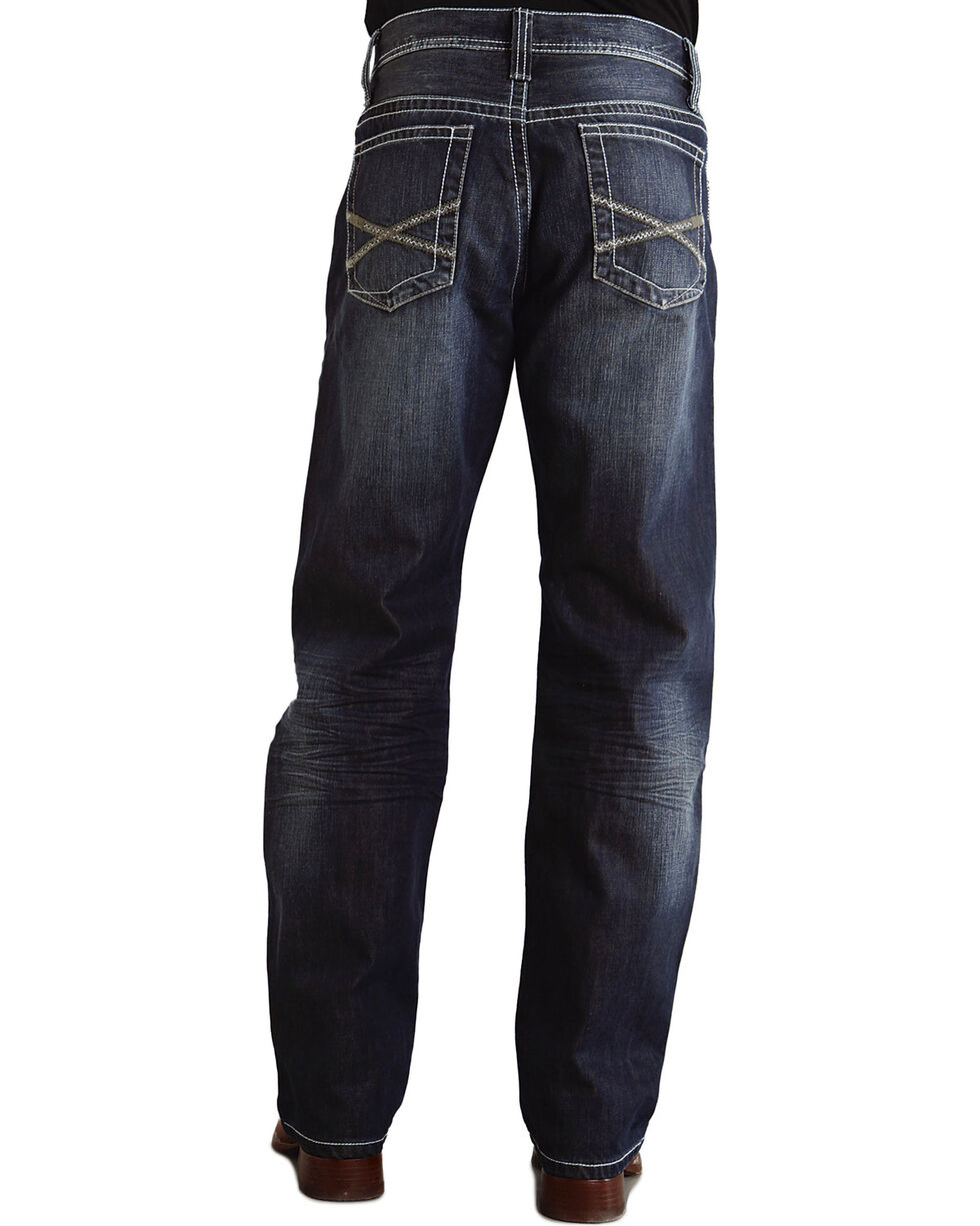 """Stetson 1520 Fit Bold """"X"""" Stitched Jeans, Dark Stone, hi-res"""