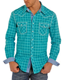 Rock & Roll Cowboy Men's Plaid Printed Long Sleeve Shirt, , hi-res
