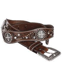 Ariat Scalloped Hand Tooled & Embellished Western Belt, , hi-res