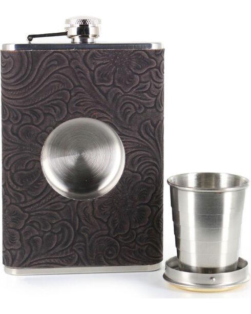 BB Ranch® 12 Gauge Tooled 8 OZ. Flask, No Color, hi-res