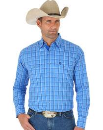 Wrangler George Strait Troubadour Blue Plaid Western Shirt , , hi-res