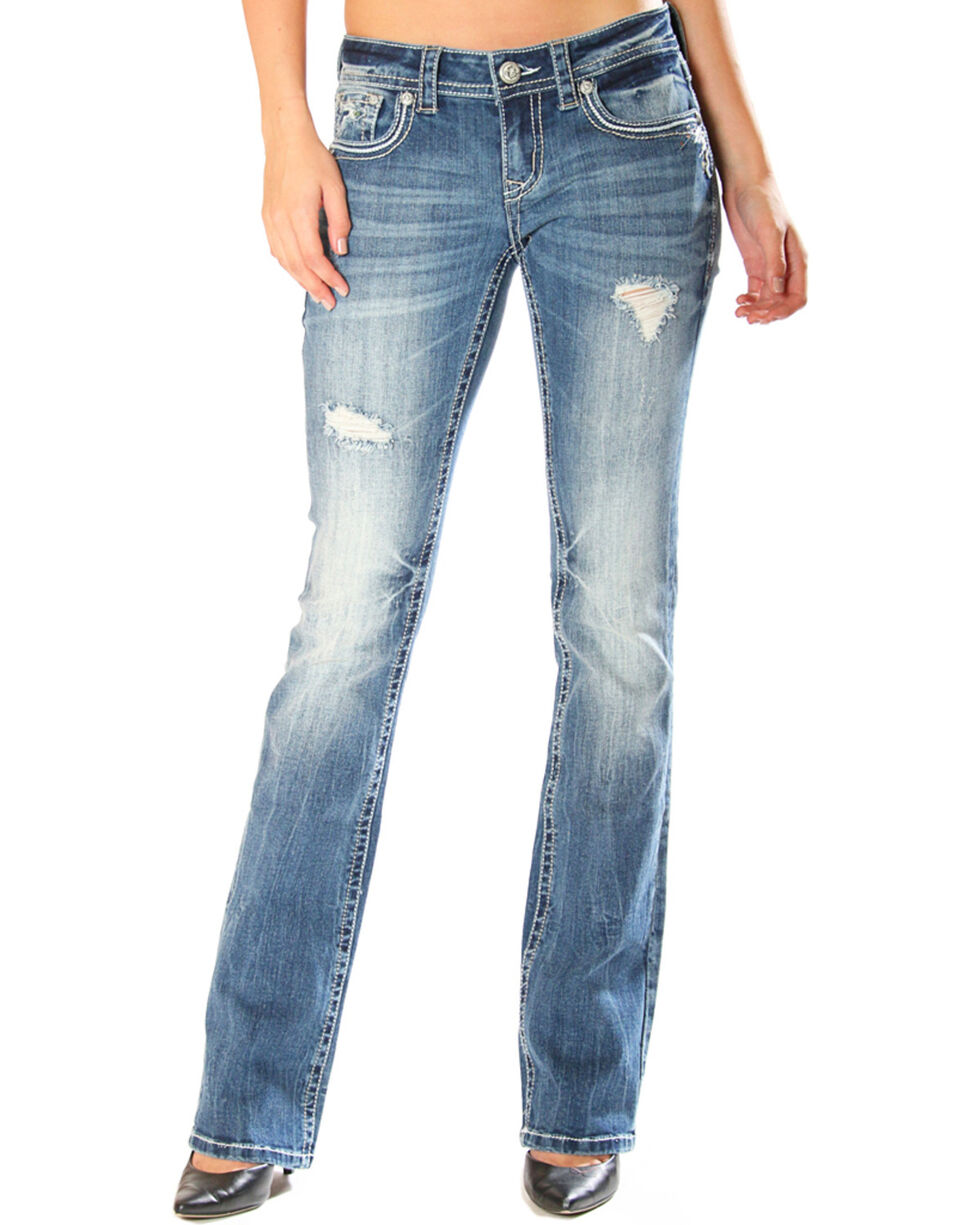 Grace in LA Women's Distressed with Embellished Pocket Jeans - Boot Cut, , hi-res
