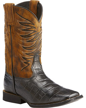 Ariat Boys' Black Firecatcher Caiman Print Boots - Square Toe , Black, hi-res