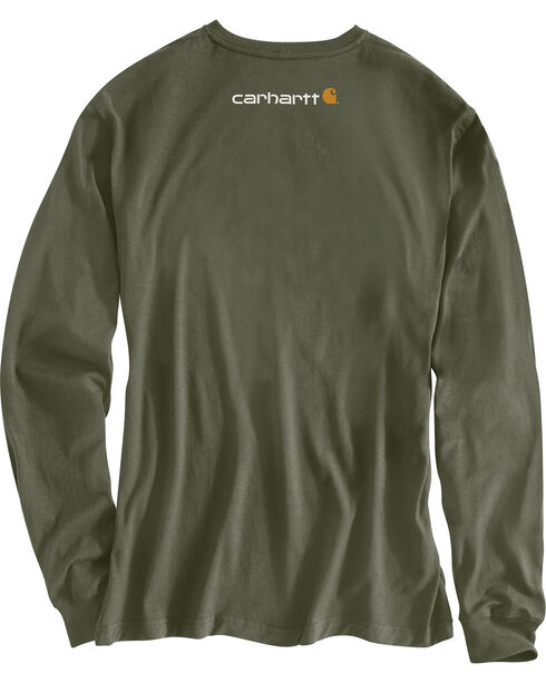 Carhartt Men's Green Graphic Logo Long Sleeve Shirt, Green, hi-res