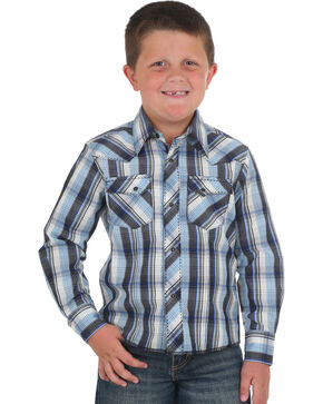 Wrangler Boys' Blue Plaid Fashion Western Shirt , Blue, hi-res