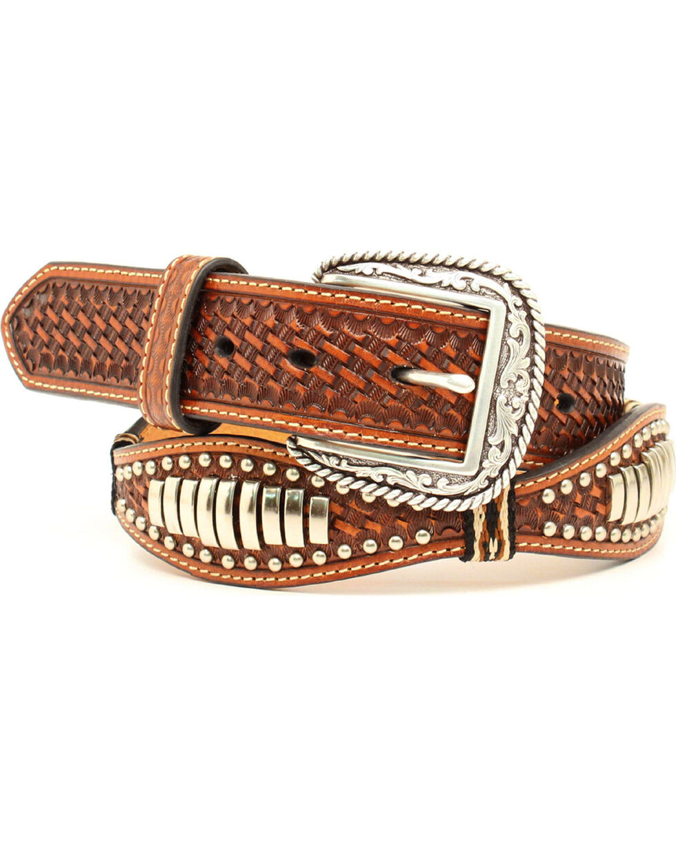 Ariat Scalloped Bullet Concho Belt, Tan, hi-res