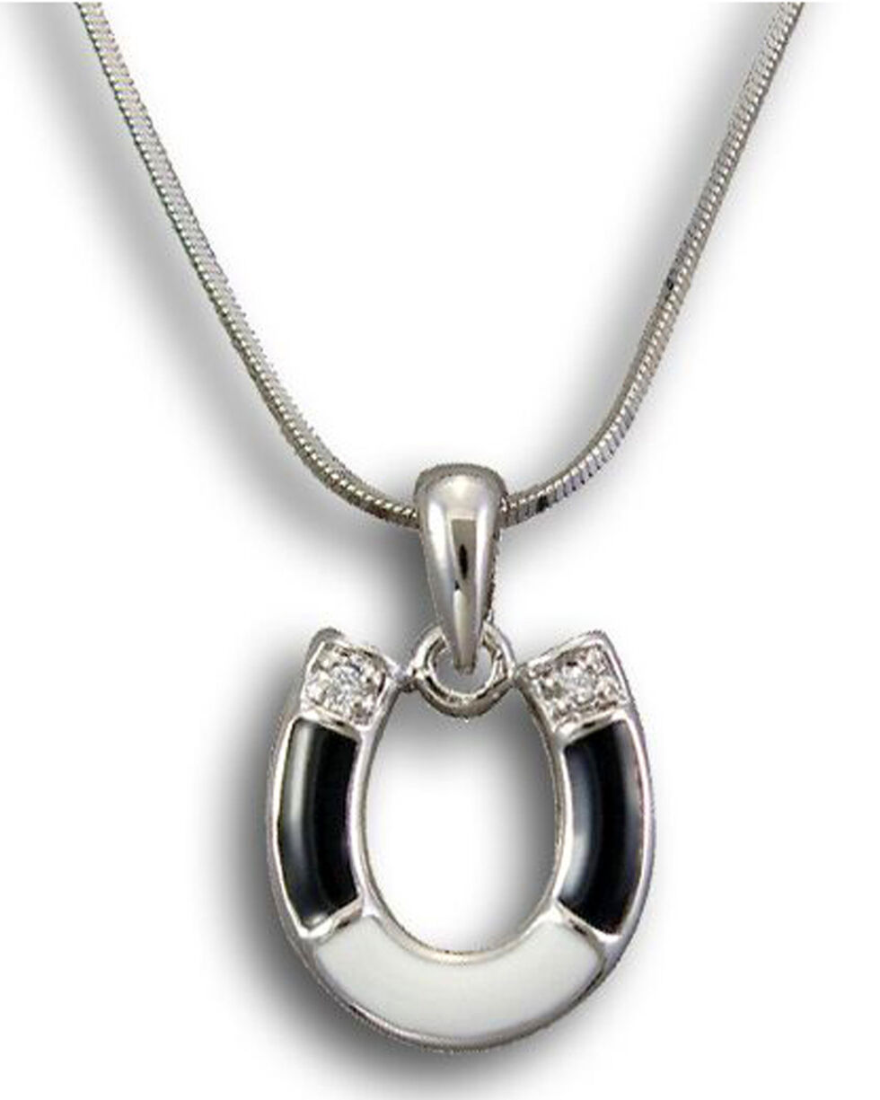 Kelly Herd Women's Sterling Silver Horseshoe Pendant Necklace , Black, hi-res