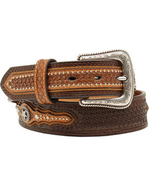 Nocona Men's Basketweave Star Concho Belt, Brown, hi-res