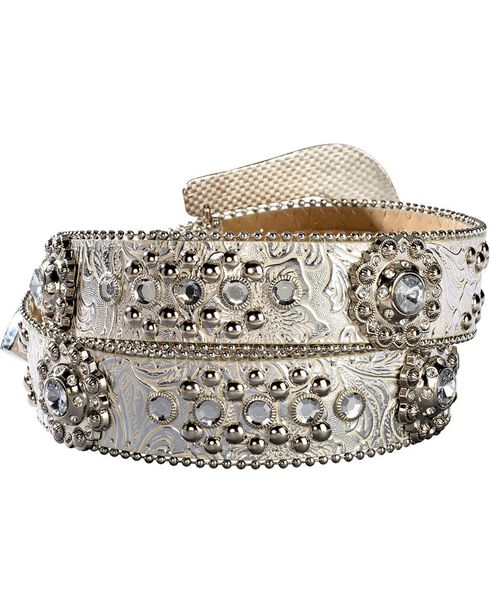 Blazin Roxx Floral Concho & Crystal Metallic Silver Leather Belt, Silver, hi-res