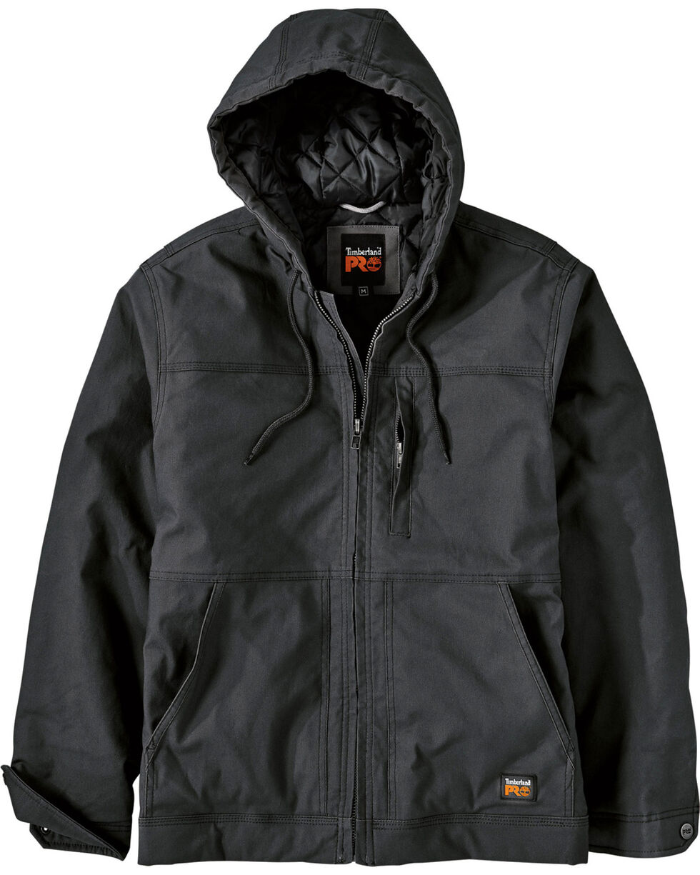 Timberland PRO Men's Baluster Insulated Hooded Canvas Work Jacket, Black, hi-res