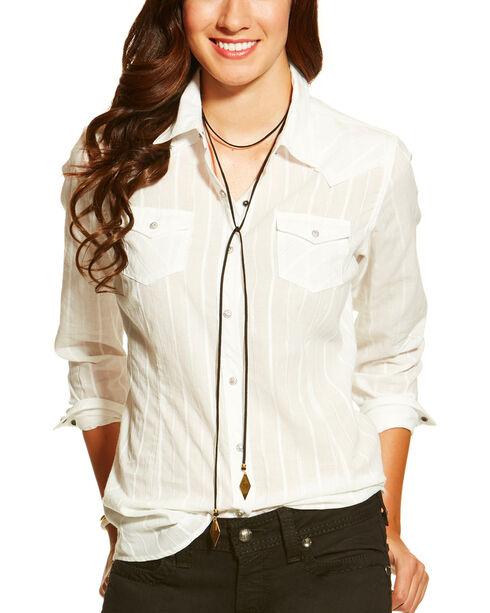 Ariat Women's Long Sleeve Western Shirt, White, hi-res