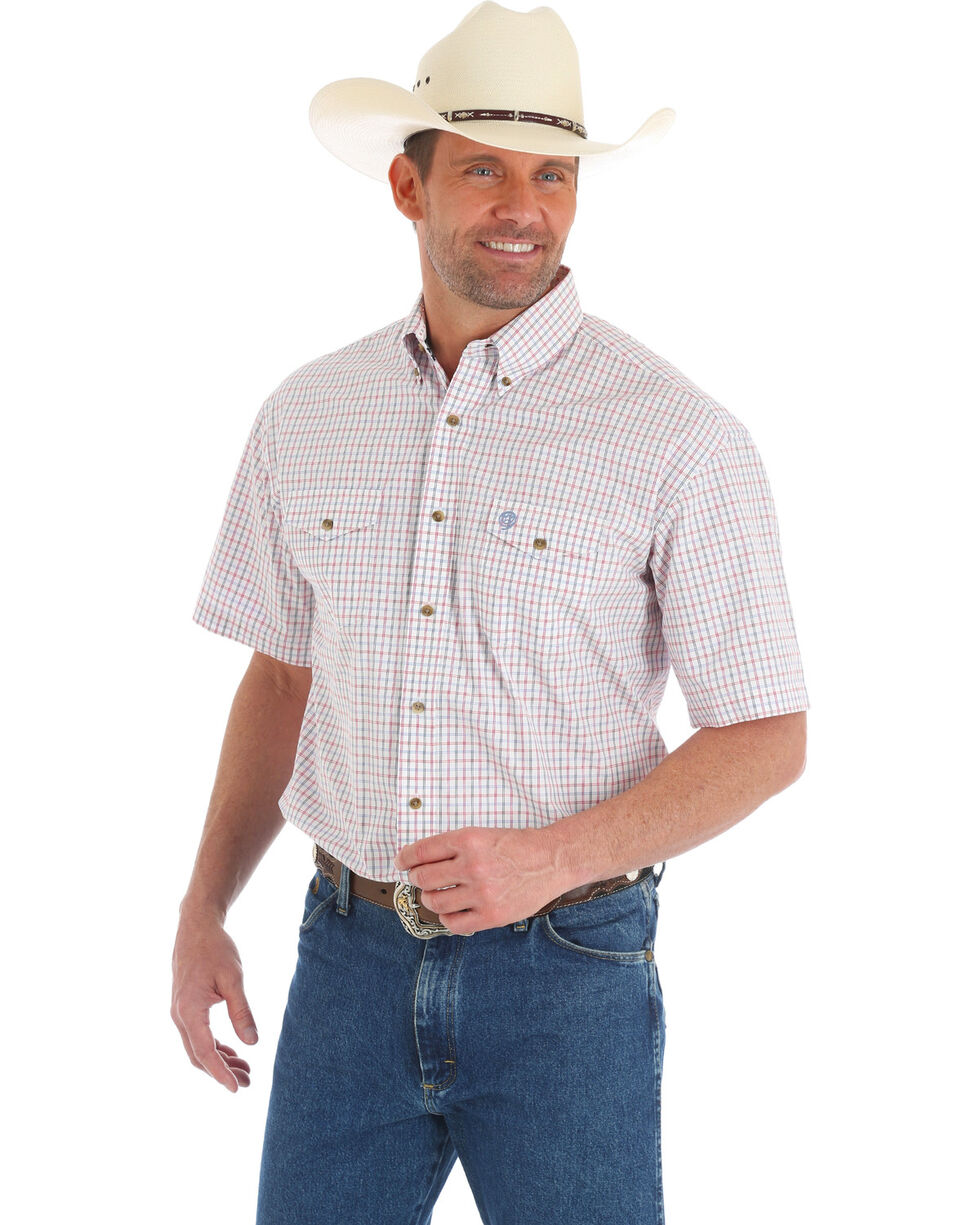 Wrangler George Strait Men's Red Check Short Sleeve Shirt, Red, hi-res