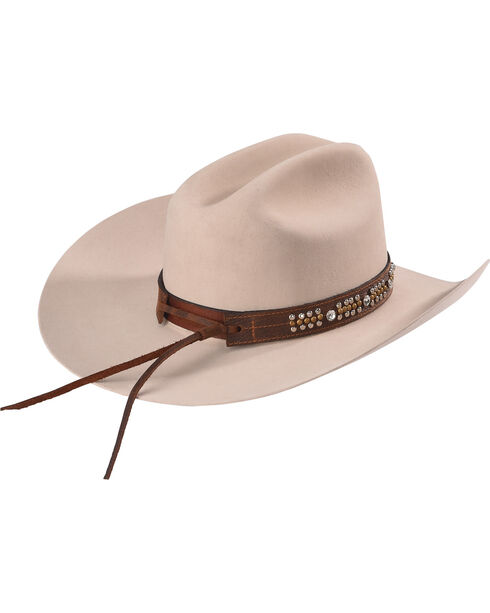 Phunky Horse Women's Horseshoe Leather Hat Band , Chocolate, hi-res