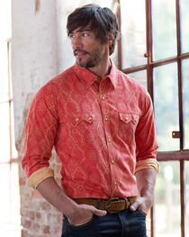 Ryan Michael Men's Red Santa Fe Silk Jacquard Shirt, Red, hi-res