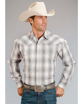 Stetson Men's Grey Plaid With Satin Stitch Long Sleeve Snap Shirt, Grey, hi-res