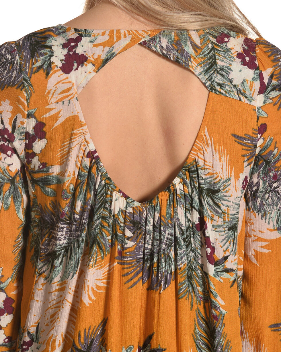 Onetheland Women's Marigold Floral Dress , Dark Yellow, hi-res